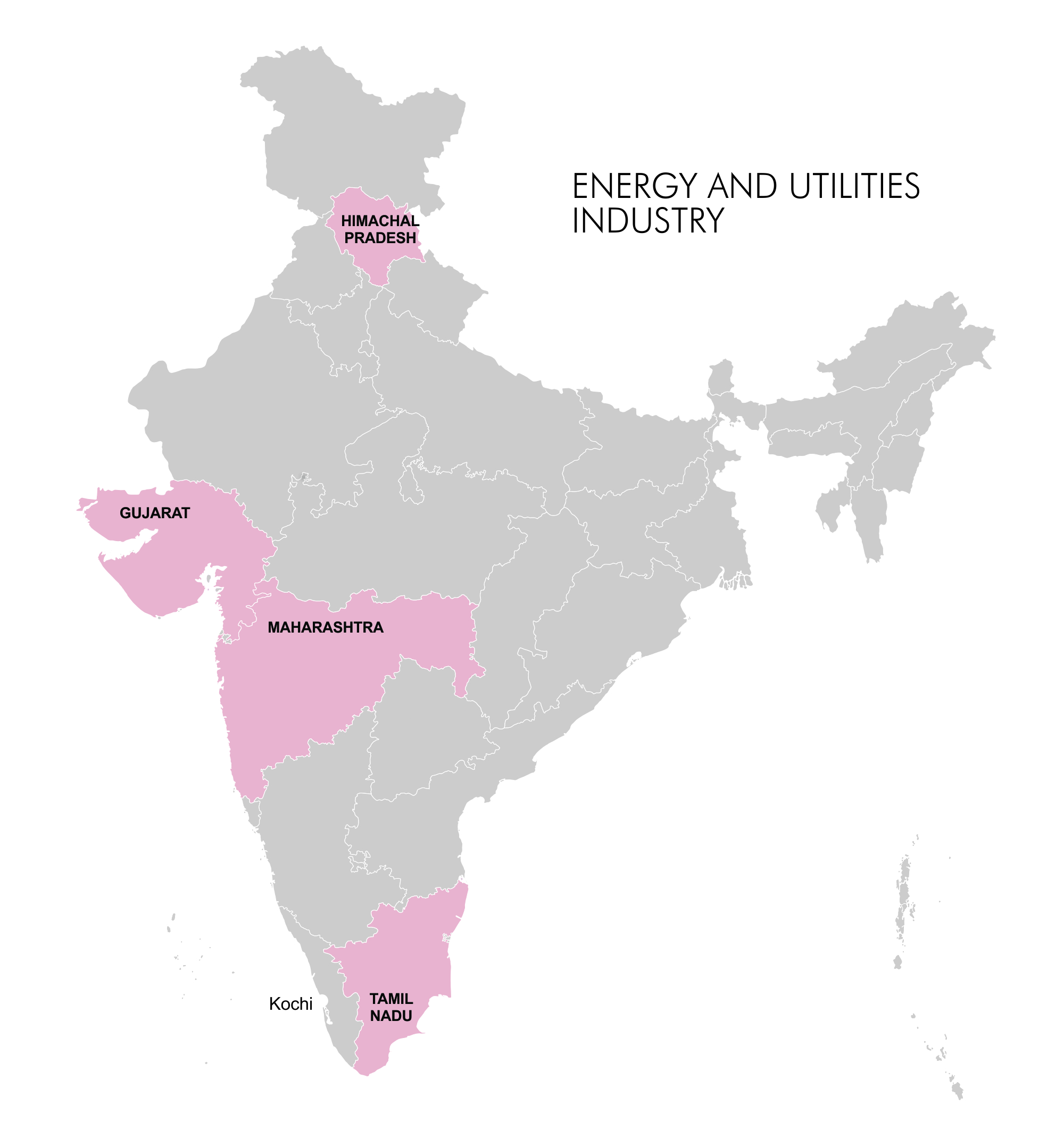 Map - Industry Clusters: Energy and Utilities