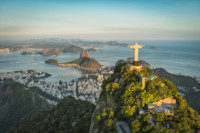 RIO DE JANEIRO, BRAZIL - FEBRUARY 2016: Aerial view of Christ and Botafogo Bay from high angle.
