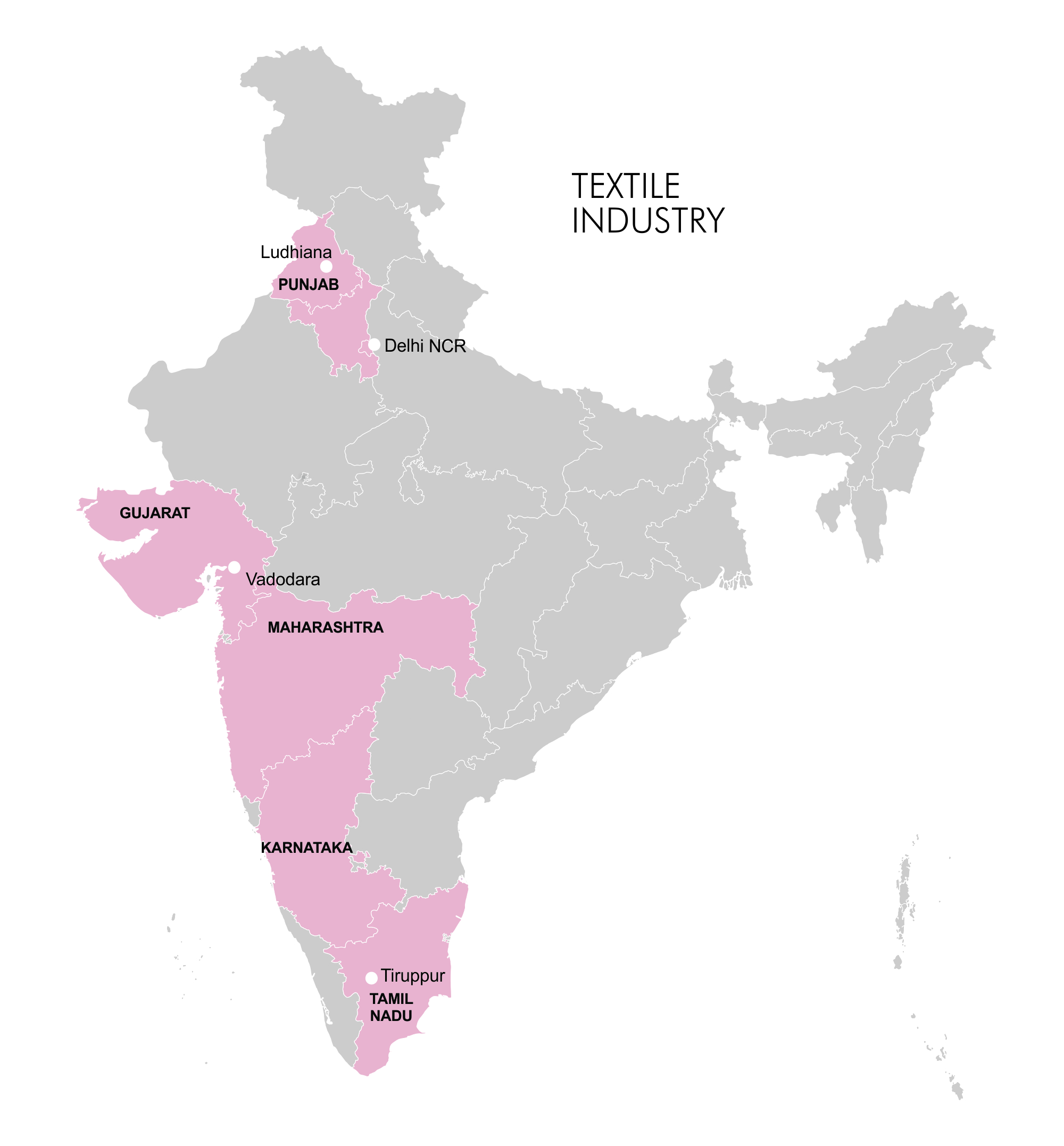 Map - Industry Clusters: Textile